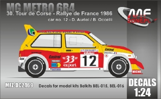 Decal 1/24 MF Zone - MG Metro 6R4 D. Auriol - Tour de Corse 1986