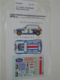 Decal 1/43 Reji model - Renault 5 Turbo - Rally Škoda 1983/ A. Ferjancz